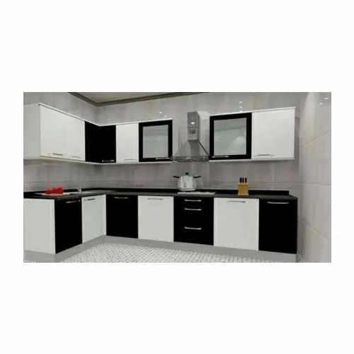 L Shape Black White Modular Wooden Kitchen Warranty 1 5 Years Rs 1200 Square Feet Id 6074763291