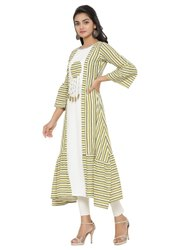 Yash Gallery Women's Cotton Blend Stripes Print Kurta