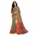 Khaki color Chanderi Banarasi Cotton Weaving  Sari with Blouse Piece