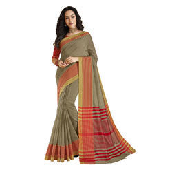 Khaki color Chanderi Banarasi Cotton Weaving  Sari with Blouse Piece