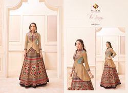 Brown Color Printed Designer Anarkali Suit