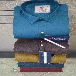 Nebas Collar Neck Mens Cotton Plain Shirt