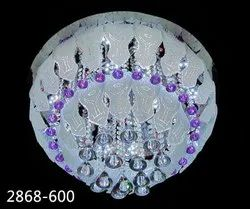 Light Blue and White Ceiling LED Round Crystal Chandelier