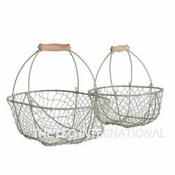 Iron Metal Storage Basket Set of 2