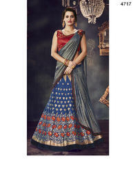Blue Semi-Stitched Lehenga-Saree