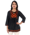 Ladies Chikan Embroidered Short Top