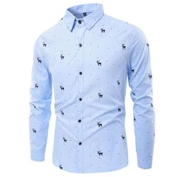 Printed Sky Blue Mens Cotton Party Wear Shirt