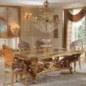Acme 3.25-5 Ft Gold Leaf 6 Seater Dining Table, Size/dimension: 6.5x3, Table And Chair