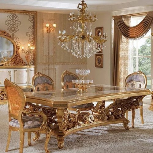 Acme 3 25 5 Ft Gold Leaf 6 Seater Dining Table Size Dimension 6 5x3 Table And Chair Rs 350000 Set Id 20652858597