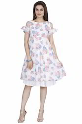 Ladies Western Double Layered Flared Frock Dress