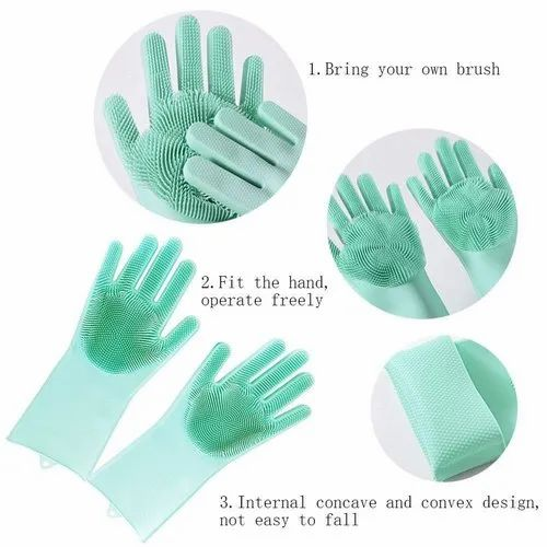 Full Finger Magic Silicone Scrubbing Hand Gloves, Size: Free