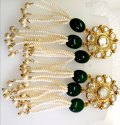 Polki Earrings with 925 Sterling Silver Dangler