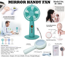 Imported Plastic Mirror Handy Fan H-2601, Size: Small