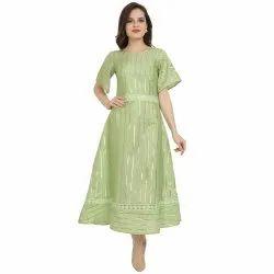 Ladies Party Wear Chiffon Dress, Size: M to XXL