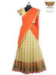 Banaras Stripes Tulip Half / Langa Davani Saree