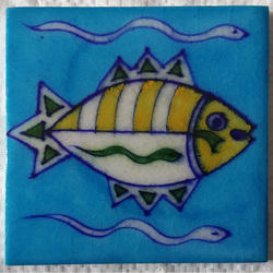 Yellow And Green New Fish Print Blue Pottery Tiles, 4 X 4 Inch