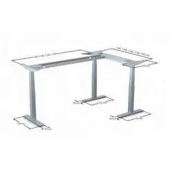 Steel 3 Leg Adjustable Corner Desk For Work Place
