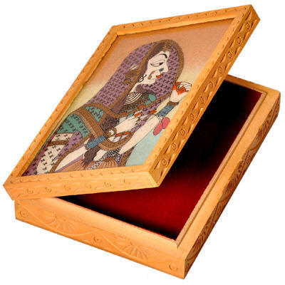 Ethnic Gemstone Painted Wooden Hot Jewelry Box 355