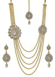 Bindhani Long Double Pendant Gold Kundan Necklace Set