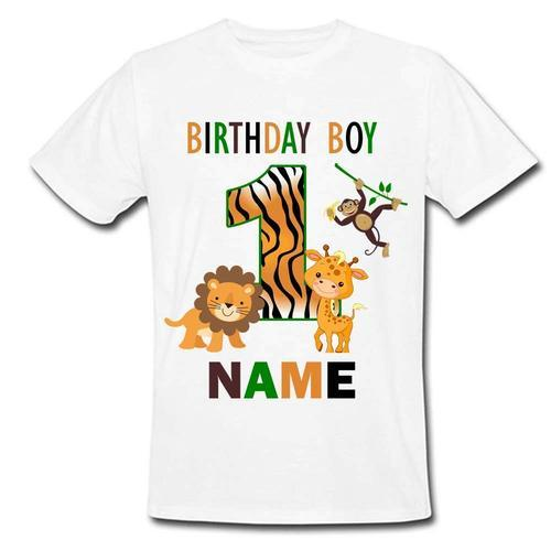 White Sprinklecart Jungle Themed First Birthday T Shirt Size Medium