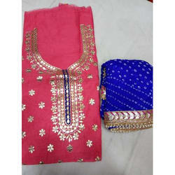 Ladies Cotton Embroidered Fancy Unstitched Suit