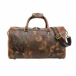 Glossy Hunter Brown Genuine Buffalo Leather Travel Weekend Bag With Custom Production