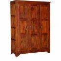 Wood Golden Brown Three Door Wardrobe