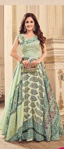 2b01a033f6 Light Green Heavy Digital Print Meraki Nayra Gown, Rs 1795 /piece ...