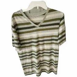 Cotton Mens V Neck T Shirt, Size: S-XL