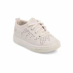 Girls Beige Casual Lace Up Shoes