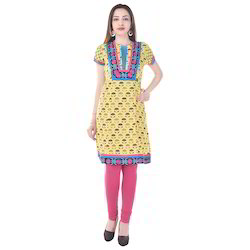 Embroidery Yellow Cotton Kurti