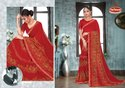 Printed Georgette Saree with Lace- Red Queen 04