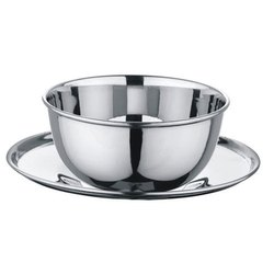Silver Stainless Steel Double Wall Soup Bowl with Under Liner