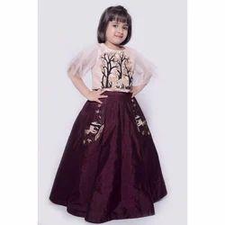 Chanderi Party Wear Kids Fancy Lehenga