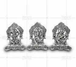 White Metal Laxmi Ganesh Saraswati