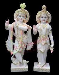 Raj Creations White Marble Radha Krishna Statue