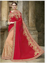 Modest Red Embroidered Work Net Designer Saree