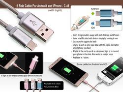 Silver And Blue 2 Side Data Cable For Android And IPhone With Light