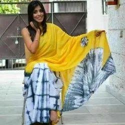 Bagru Hand Shibori Print Cotton Mulmul Saree