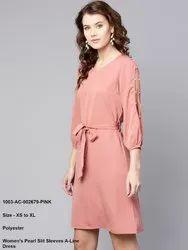 Women's Pearl Slit Sleeves A-Line Dress