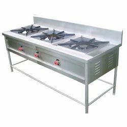 Stainless Steel LPG 3 Burner Gas Range, For Commercial