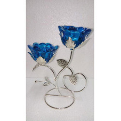Crystal Blue Flower Showpieces