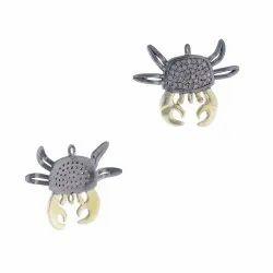 Diamond Silver Crab Charm Pendant