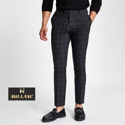 b2c4ebb69 Men  s Cotton Lycra Checked Slim Fit Trouser