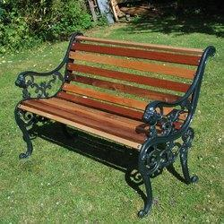 Green And Yellow Iron Garden Bench