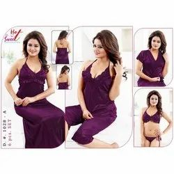 Six Pieces Satin Nighty