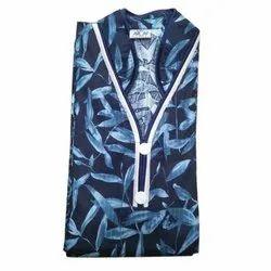 MN Full Length Leaves Print Designer Cotton Nightgown, Size: XL, XXL