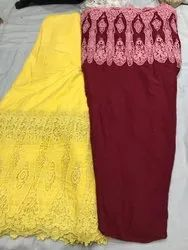 Satkaar Embroidered Pure Cotton Embroideries Fabric, For Dress, Packaging Type: Poly Bag