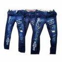 Kids Blue Printed Denim Jeans
