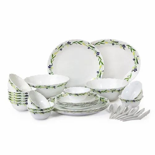 Cello Imperial Amazon Creeper Opalware Dinner Set, 33 Pieces, White